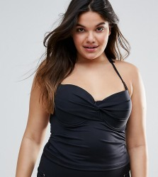 ASOS DESIGN CURVE Mix and Match Tankini Bikini Top with Eyelets - Black