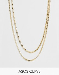 ASOS DESIGN Curve multirow necklace in mixed link chain in gold - Gold