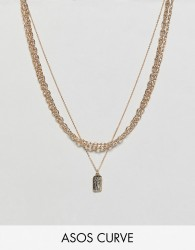 ASOS DESIGN Curve multirow necklace with mixed link chain and tag pendant in gold - Gold