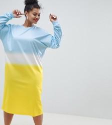 ASOS DESIGN Curve oversize midi sweat dress in dip dye print - Multi