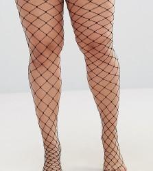 ASOS DESIGN Curve oversized fishnet tights - Black