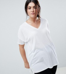 ASOS DESIGN Curve oversized longline t-shirt with v-neck in lightweight rib in white - White