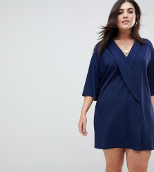ASOS DESIGN Curve Oversized Tux Dress - Navy