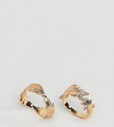ASOS DESIGN Curve pack of 2 rings with leaf design in gold - Gold