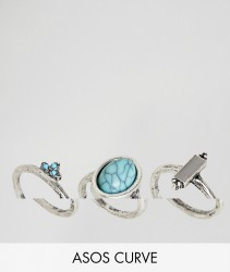 ASOS DESIGN Curve pack of 3 stone and ball detail rings - Silver