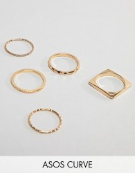 ASOS DESIGN Curve pack of 5 rings in engraved and cut out square design in gold - Gold