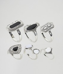 ASOS DESIGN Curve Pack Of 6 Enamel And Faux Moonstone Rings - Silver