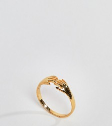 ASOS DESIGN Curve ring in gold plated sterling silver in vintage style hand design - Gold