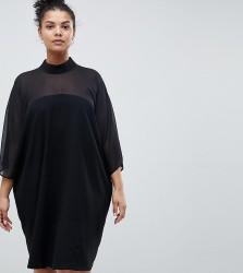 ASOS DESIGN Curve shift dress with sheer inserts - Black