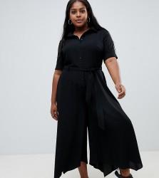 ASOS DESIGN Curve shirt jumpsuit with hanky hem and belt detail - Black