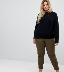 ASOS DESIGN Curve skinny chino trousers with roll up hem in khaki - Green