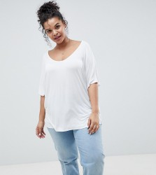 ASOS DESIGN Curve t-shirt with drapey batwing sleeve in white - White