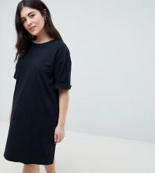 b3de440ef379 ASOS DESIGN Curve ultimate t-shirt dress with rolled sleeves - Black