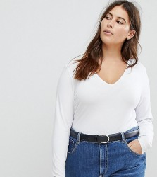 ASOS DESIGN Curve ultimate top with long sleeve and v-neck in white - White