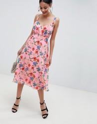 ASOS DESIGN Cut Out Midi Dress In Pink Floral Print - Multi