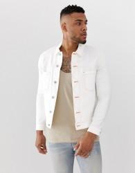 ASOS DESIGN denim jacket with contrast neon stitch - White