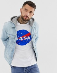 ASOS DESIGN denim jacket with jersey hood in light wash - Blue