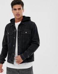 ASOS DESIGN denim jacket with jersey hood in washed black - Black