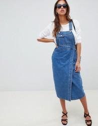 ASOS DESIGN denim midi dungaree dress in mid wash blue - Blue