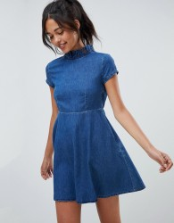 ASOS DESIGN denim smock dress with ruffle neck - Blue