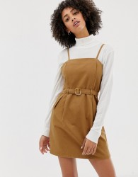 ASOS DESIGN denim strappy dress with belt in toffee - Tan