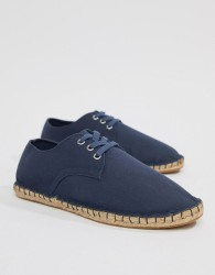 ASOS DESIGN derby espadrilles in navy canvas - Navy