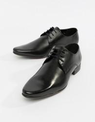 ASOS DESIGN derby shoes in black leather - Black