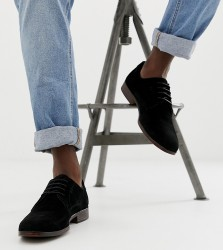 ASOS DESIGN derby shoes in black suede with natural sole - Black