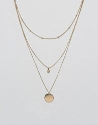 ASOS DESIGN dot dash and disc multirow necklace - Gold