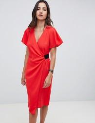 ASOS DESIGN drape front midi pencil dress with elastic detail - Red