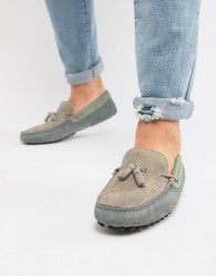 ASOS DESIGN driving shoes in grey and blue suede with tassels - Navy