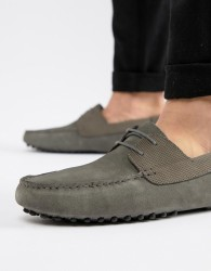 ASOS DESIGN driving shoes in grey suede with lace - Grey