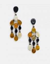ASOS DESIGN drop earrings in resin shape design - Multi