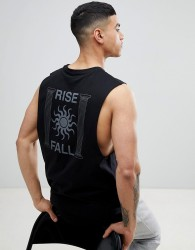 ASOS DESIGN dropped armhole vest with rise & fall back print - Black