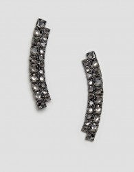 ASOS DESIGN earrings in double row crystal bar design - Silver