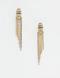 ASOS DESIGN earrings pastel crystal waterfall earrings in gold - Gold