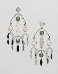 ASOS DESIGN earrings with natural style stones in mobile design in silver - Silver
