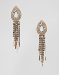 ASOS DESIGN earrings with open teardrop design and crystal strands in gold - Gold