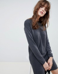 ASOS DESIGN Eco Knitted Mini Dress In Ripple - Grey
