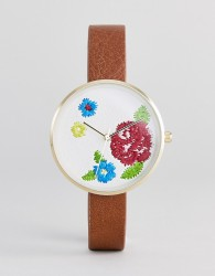 ASOS DESIGN Embroidered Face Watch - Tan