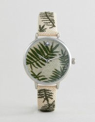 ASOS DESIGN Embroidered Palm Leaf Woven Watch - Brown