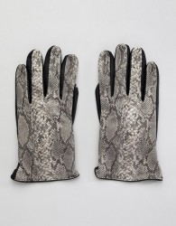 ASOS DESIGN faux leather gloves in multi snakeskin design - Multi