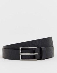 ASOS DESIGN faux leather slim belt in black with design emboss - Black