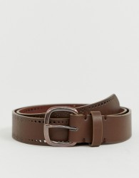 ASOS DESIGN faux leather wide belt in brown with edge design - Brown