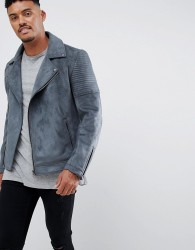 ASOS DESIGN faux suede biker jacket in grey - Grey