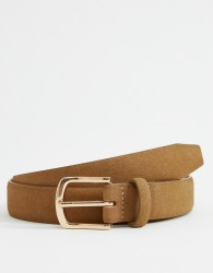 ASOS DESIGN faux suede slim belt in tan with gold buckle - Tan
