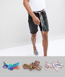 ASOS DESIGN festival 3 pack long ended shoe lace belts - Multi