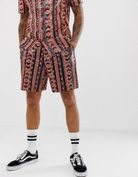ASOS DESIGN festival co-ord sequin shorts in aztec design - Pink