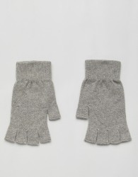 ASOS DESIGN fingerless gloves in grey marl - Grey