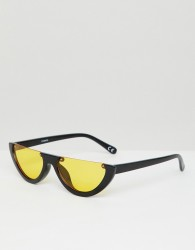 ASOS DESIGN flat brow oval sunglasses with orange lens - Black